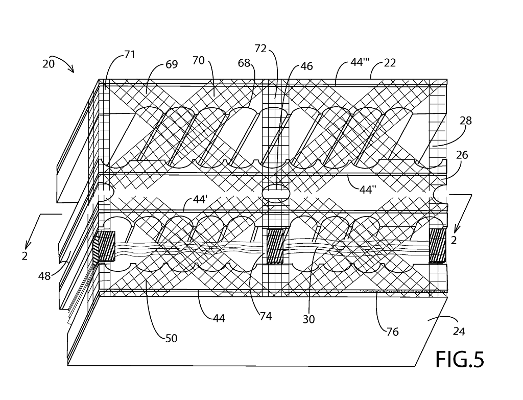 Figure 5 from US Patent #US 20140215949 A1: '65 db SOUND BARRIER INSULATED BLOCK'