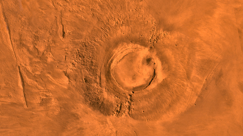 Arsia Mons, a Martian volcano last active around 50 million years ago