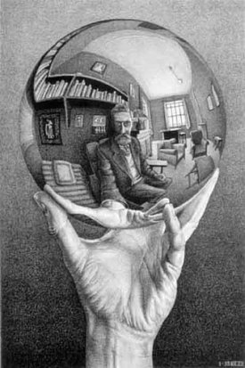 M.C. Escher: Hand with Reflecting Sphere - what's behind you seems to be before you