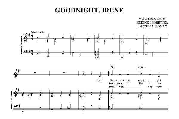 Snippet from 'Goodnight, Irene' sheet music