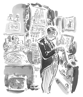 Illustration by Paul Cox for a Folio Society edition of Wodehouse's stories