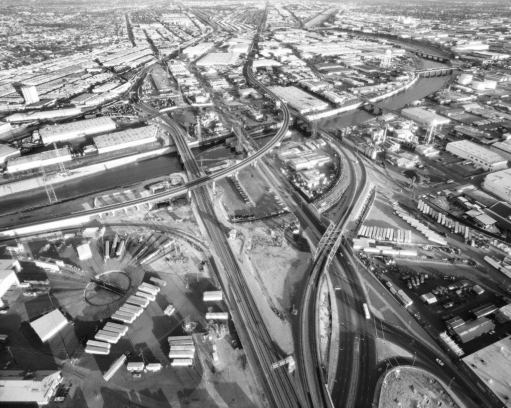 'LA River and Washington Boulevard Looking East, Santa Fe Railroad,' by Michael Light