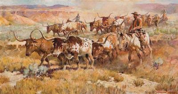 Texas Longhorn Cattle Drive, by Nick Eggenhofer