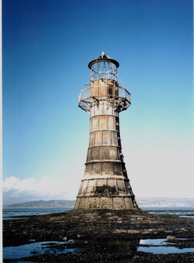 Whitford lighthouse, very low tide (click for enlarged version)