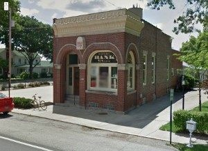 Rochester, Il, historic bank building (Google Street View screen capture)