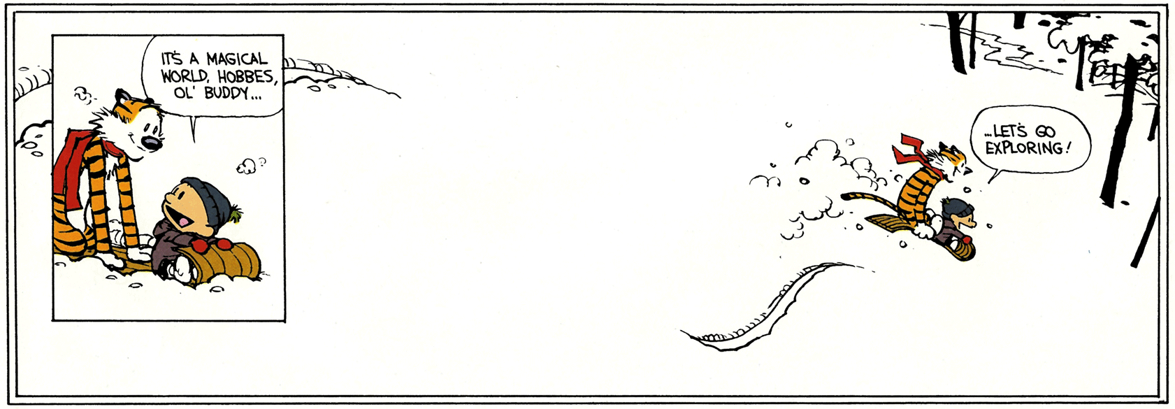 'Calvin and Hobbes,' final panels (1995-12-31), by Bill Watterson