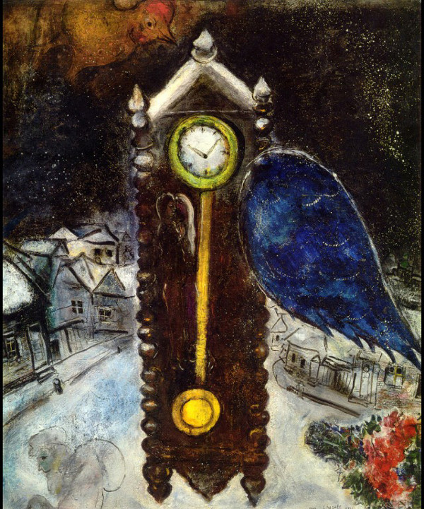 Marc Chagall: 'Clock with Blue Wing' (1949, oil on canvas)