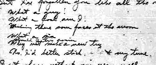 Excerpt from Hoagy Carmichael's 1st draft of 'I Get Along Without You Very Well'
