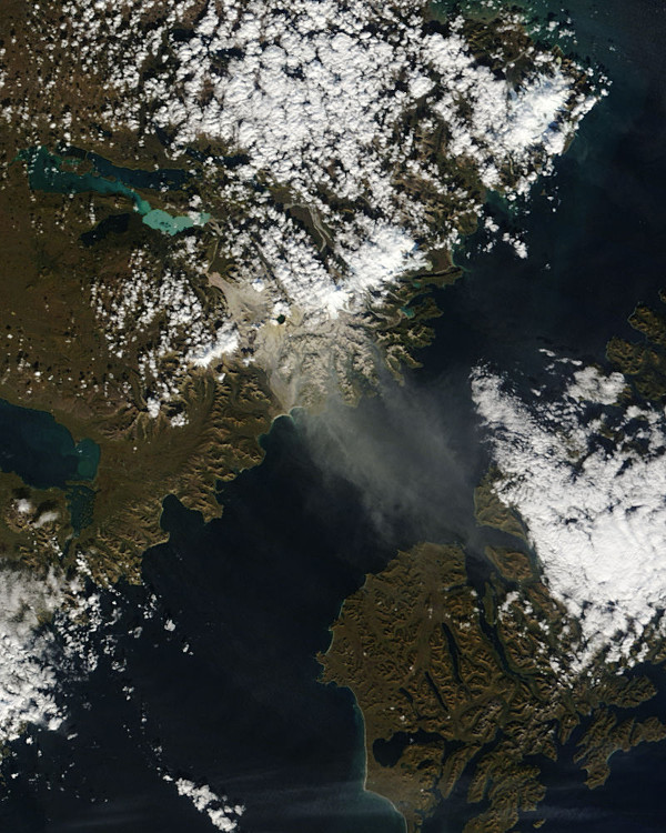 Resuspended volcanic ash over Katmai National Park, Alaska