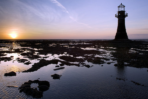 Whitford lighthouse at sunset (click for David Griffin's Flickr original)