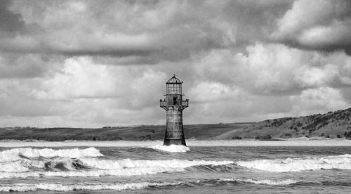 Whitford lighthouse in black and white (click for original)